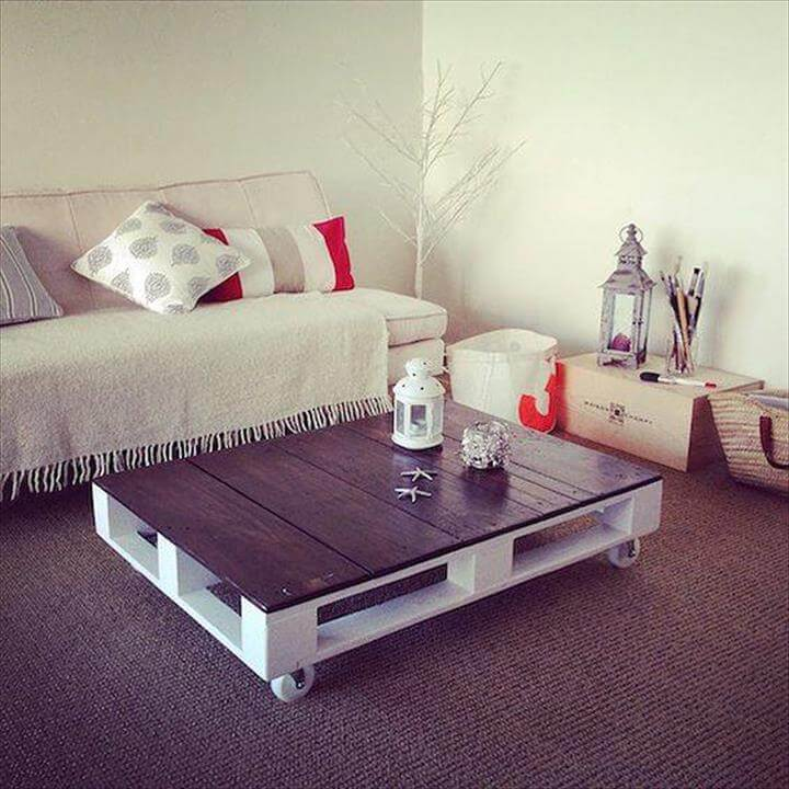 upcycled pallet coffee table with wheels
