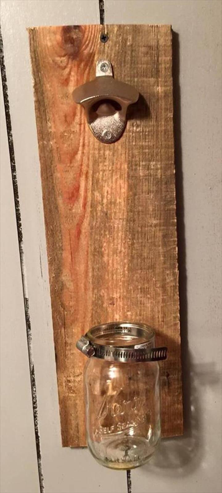 handmade pallet bottle opener with bottle holder