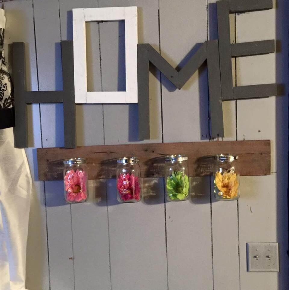 pallet and mason jar wall organizer
