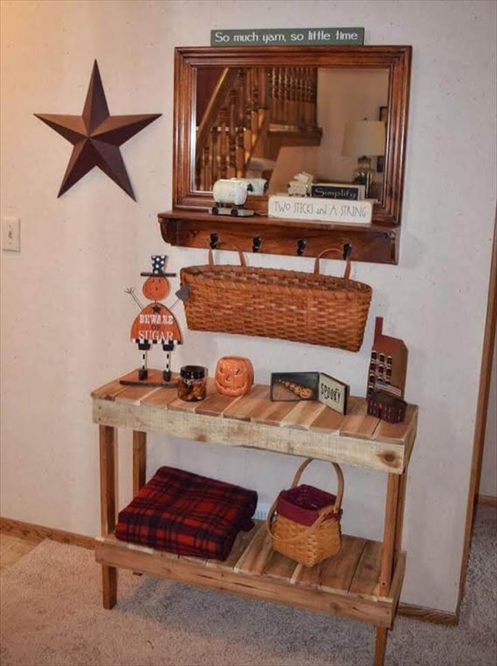 wooden pallet console