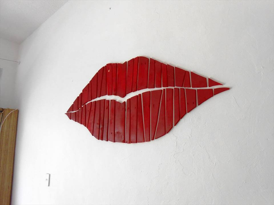 self-installed red pallet lips wall art