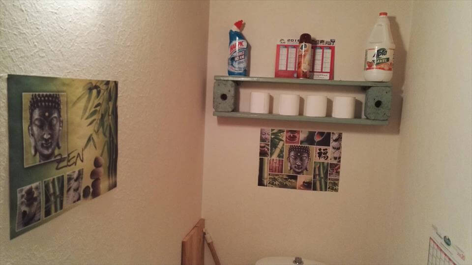 pallet toilet room wall organizer