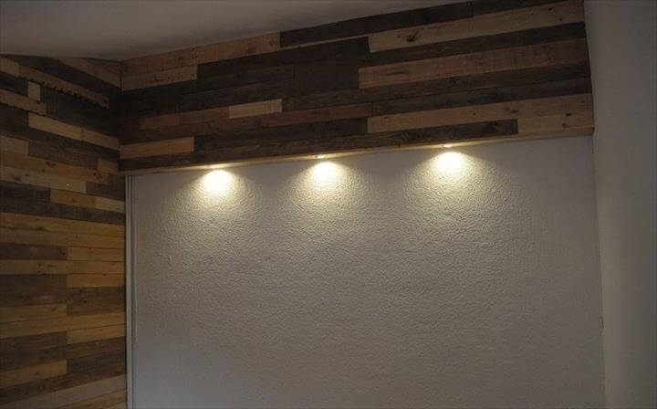 diy wood pallet wall with lights