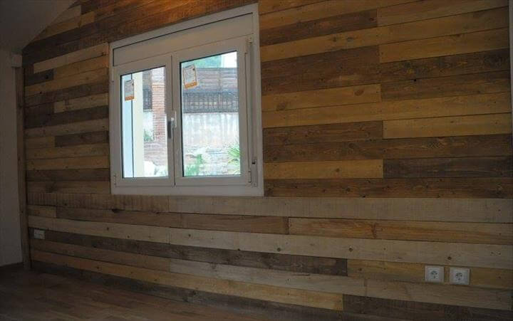pallet wood wall paneling 101 pallet ideas. Black Bedroom Furniture Sets. Home Design Ideas
