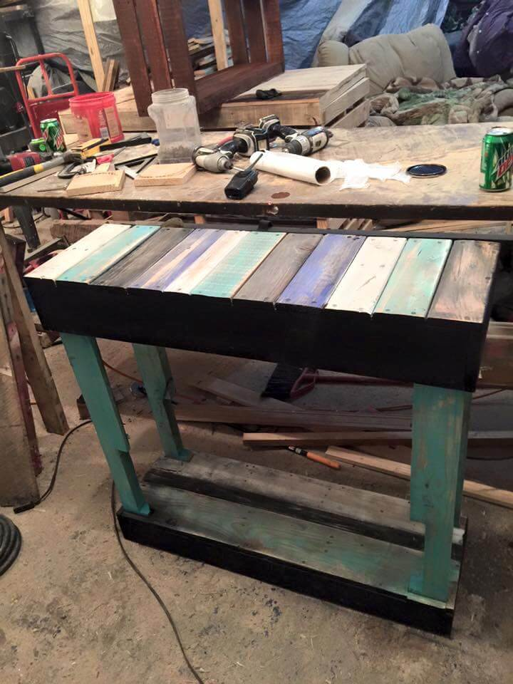 handcrafted pallet console