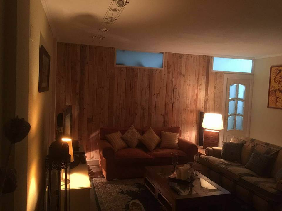 Pallet Wood Wall Paneling – Stairway and Living Room