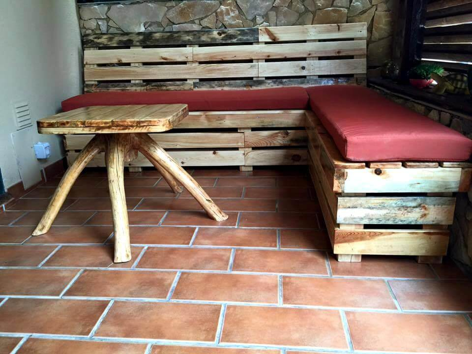 sectional pallet sofa with coffee table