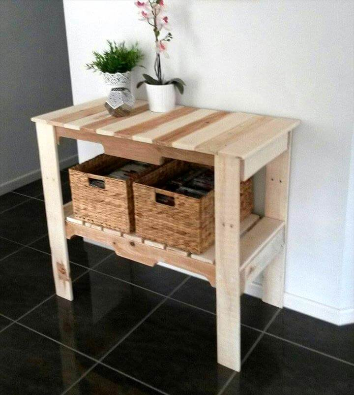 handmade custom pallet console or hallway table