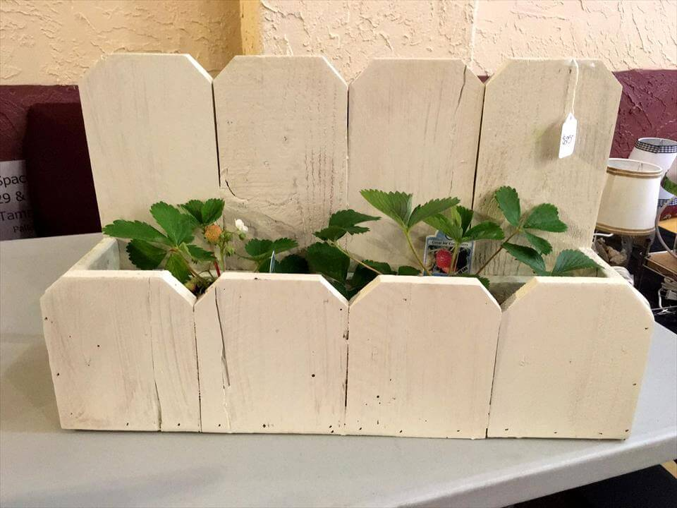 creamy white painted pallet planter