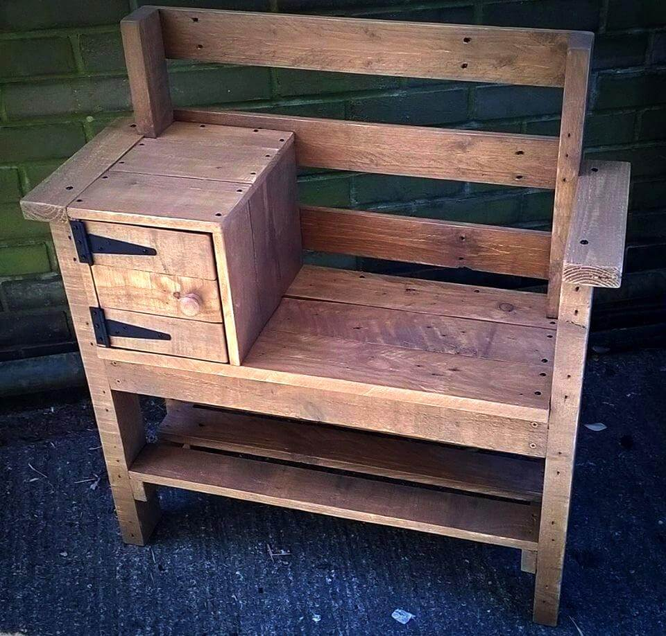Pallet Bench with Storage and Shoe Rack