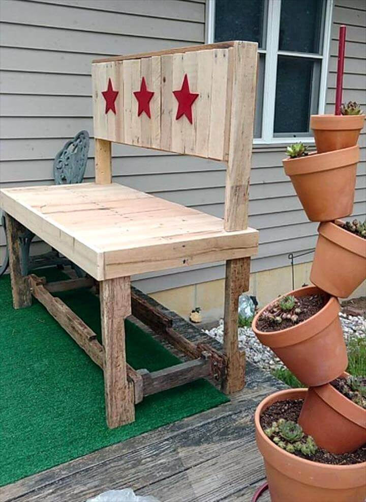 Upcycled Pallet Garden Bench