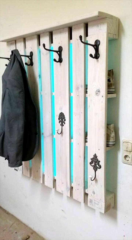 Hallway Hooks rustic inspired pallet coat rack