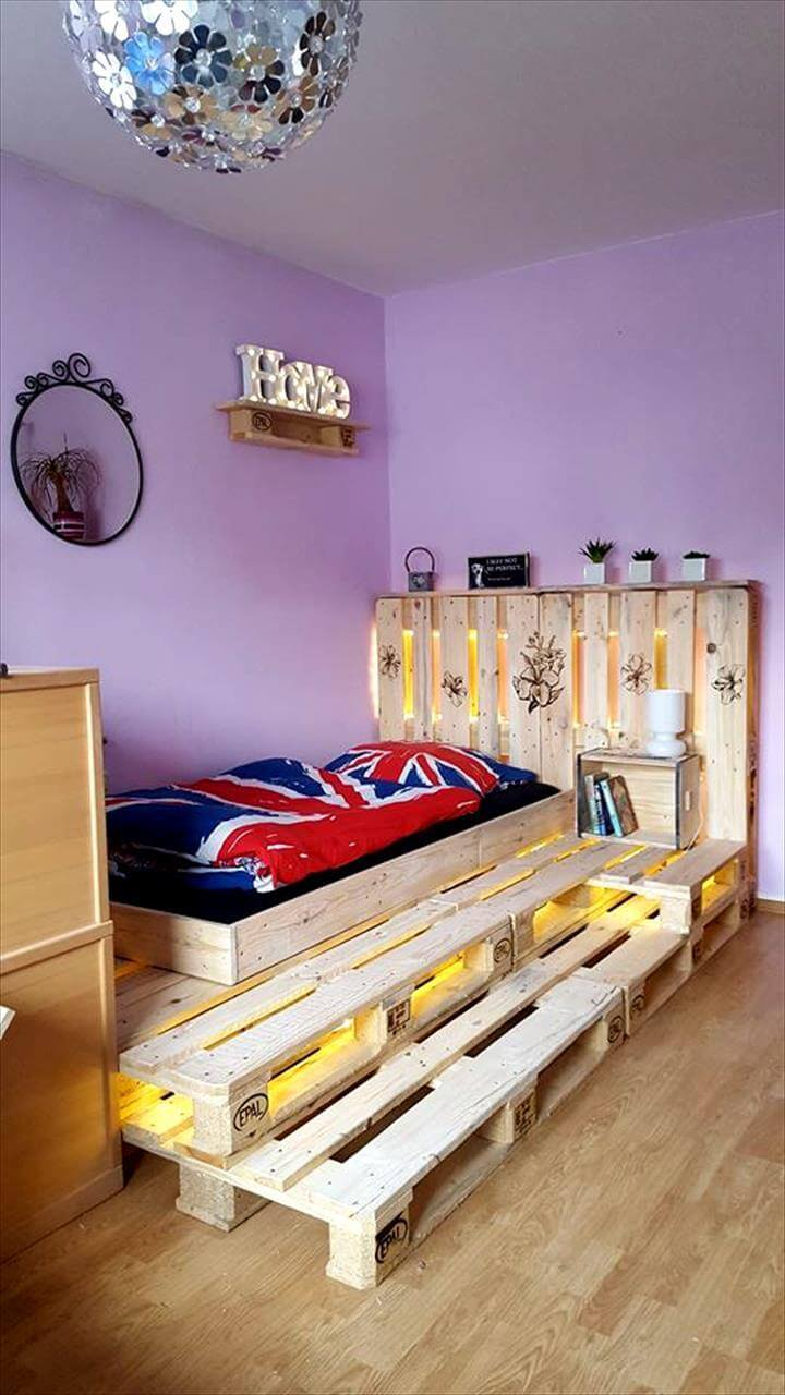 Toddler Pallet Bed with LED Lights