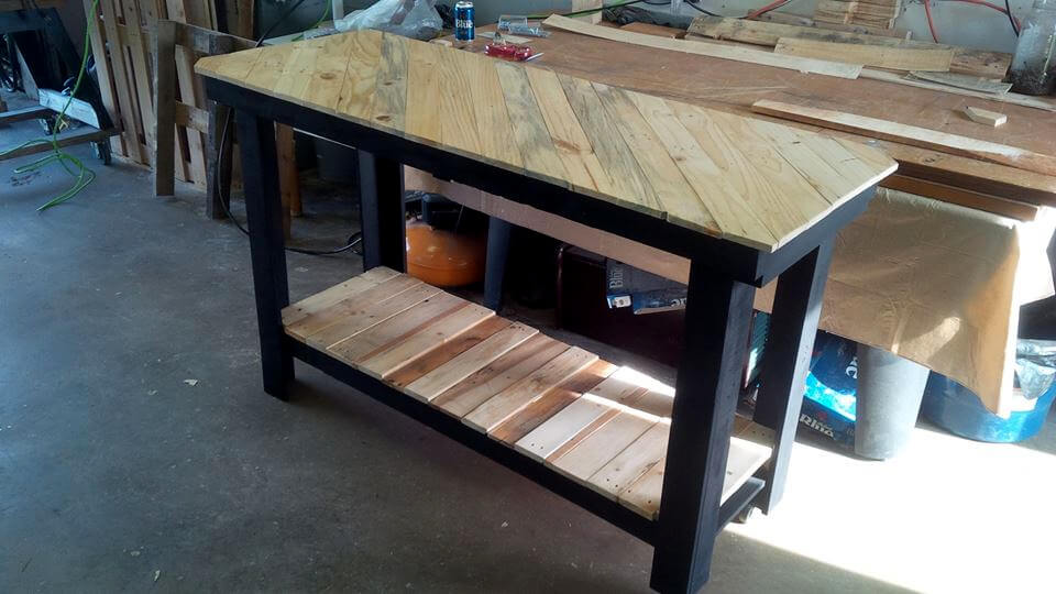 Pallet kitchen island with pattern top for Make a kitchen island out of pallets