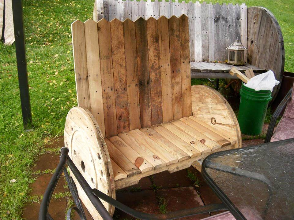 handcrafted wooden pallet and spool benches