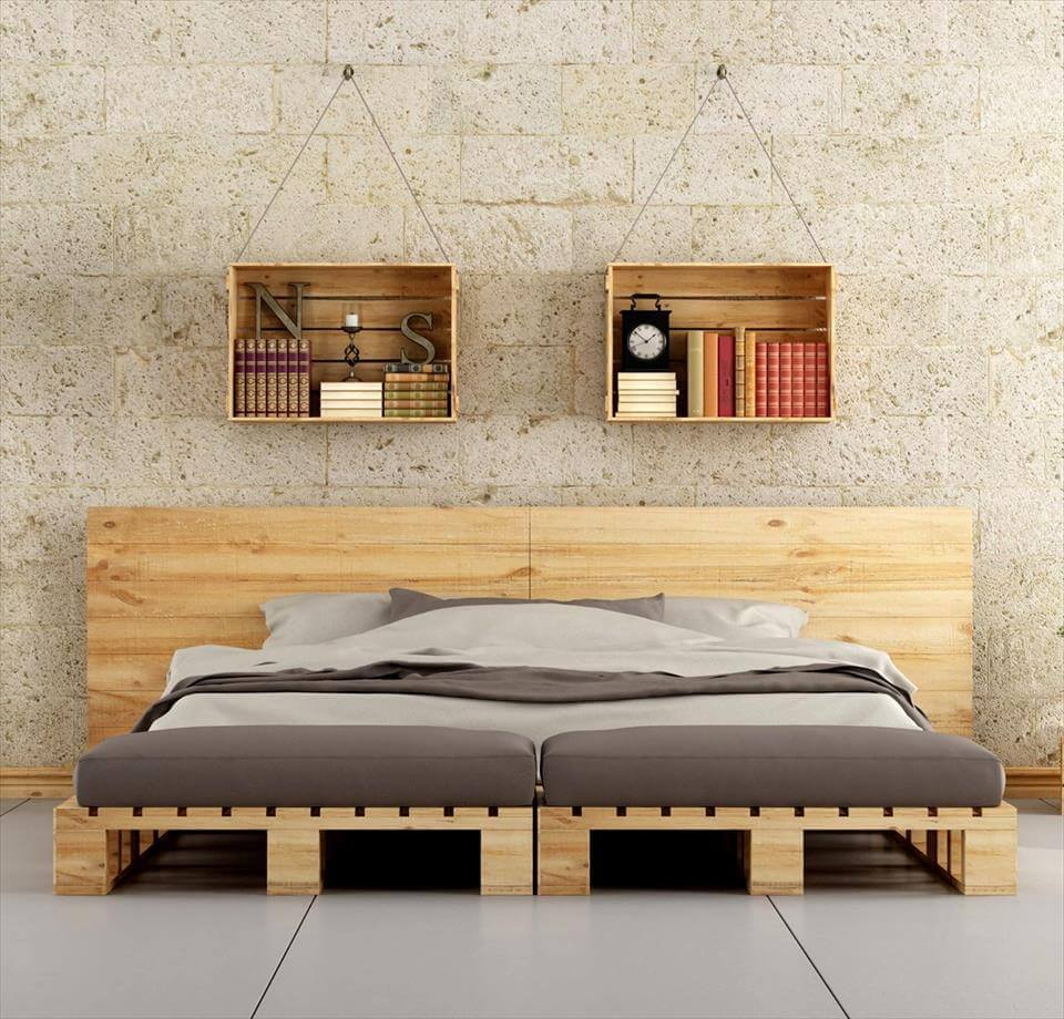 45 easiest diy projects with wood pallets - Faire un lit avec des palettes ...