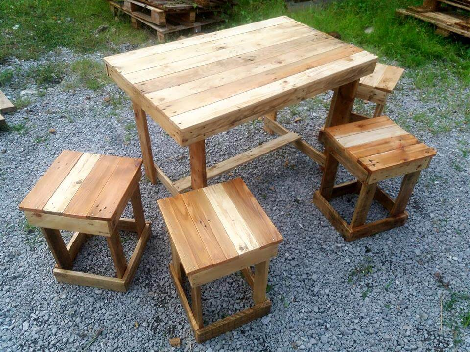 130 inspired wood pallet projects for Breakfast table with stools