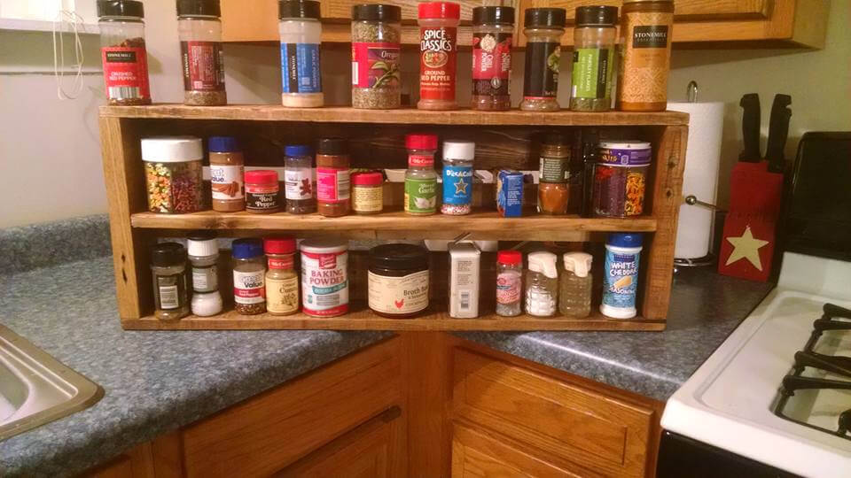 handcrafted wooden pallet spice rack