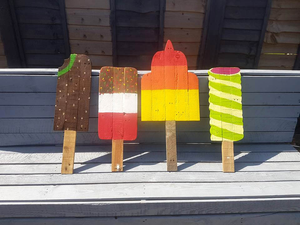 upcycled wooden pallet ice creams