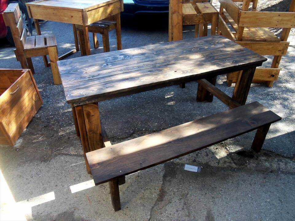 wooden pallet outdoor dining table with matching bench