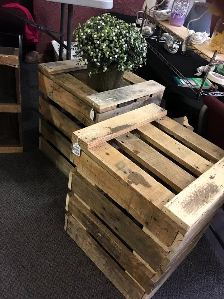 rustic wooden pallet end tables or vase stands