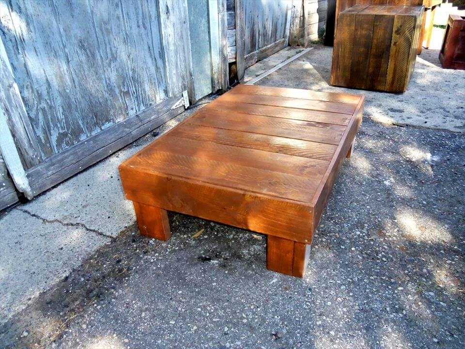 walnut stained pallet low coffee table