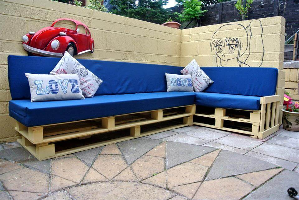 handcrafted wooden pallet blue cushioned sectional couch frame : wooden sectional sofa - Sectionals, Sofas & Couches