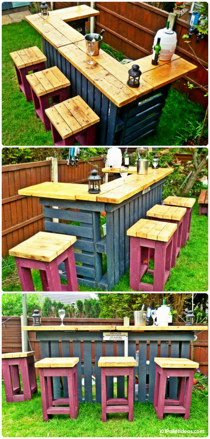 upcycled wooden pallet bar with 4 matching stools