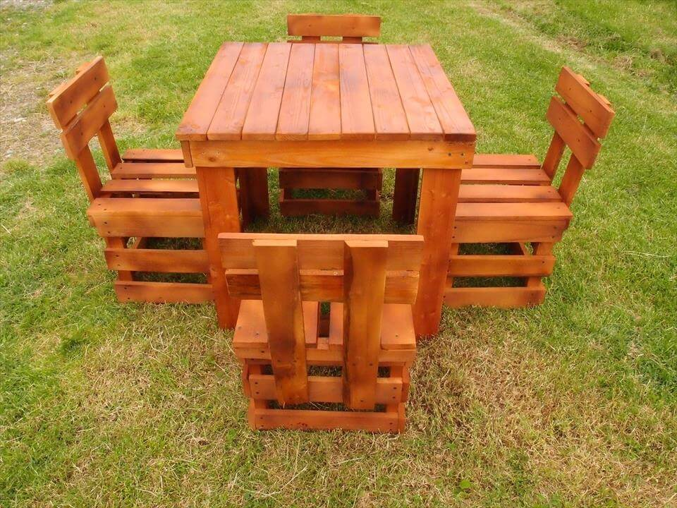 Pallet Dining Table and Chairs 101 Pallet Ideas : handmade pallet garden sitting set from www.101palletideas.com size 960 x 720 jpeg 141kB