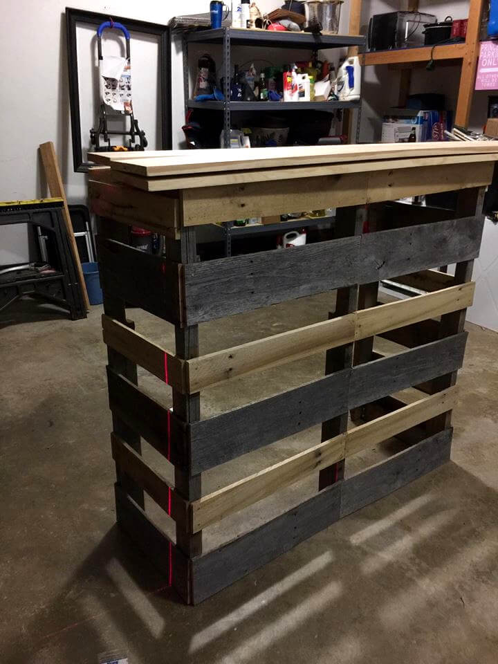 handcrafted wooden pallet bar