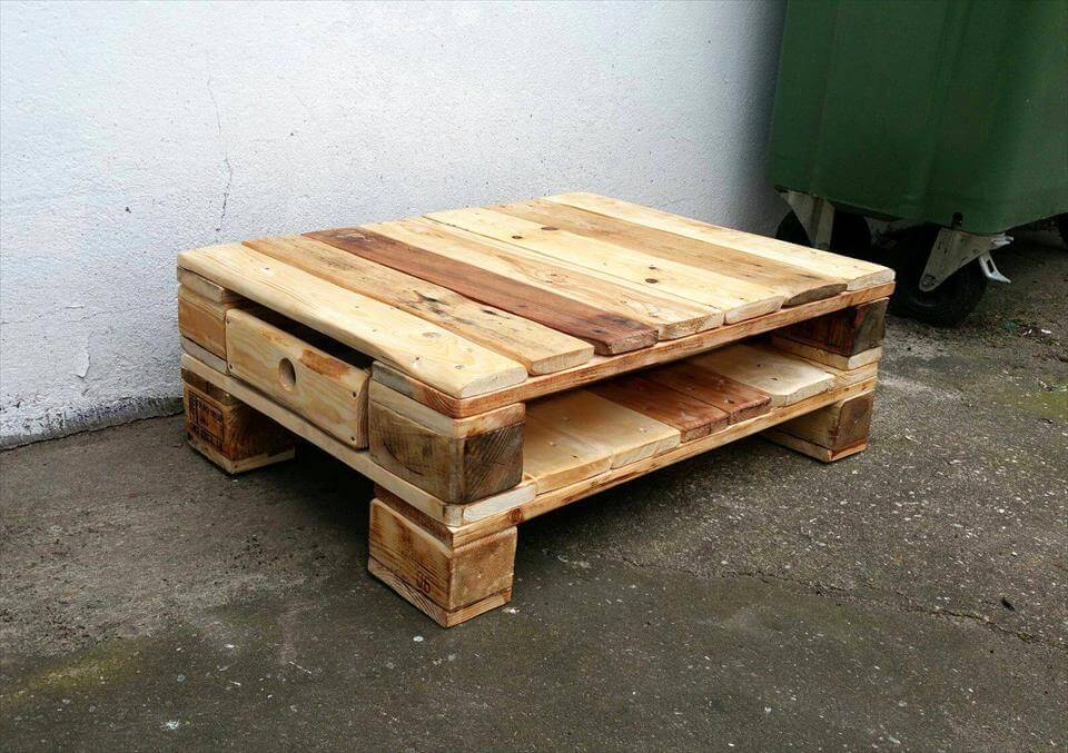 Pallet White Coffee Table With Storage