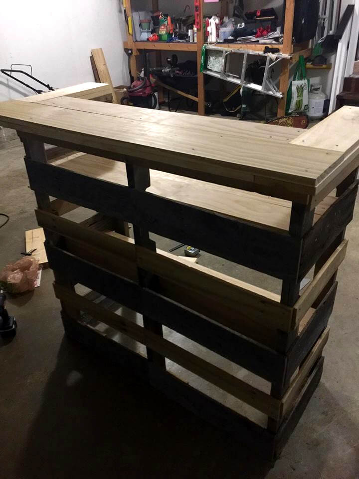 upcycled wooden pallet sturdy bar