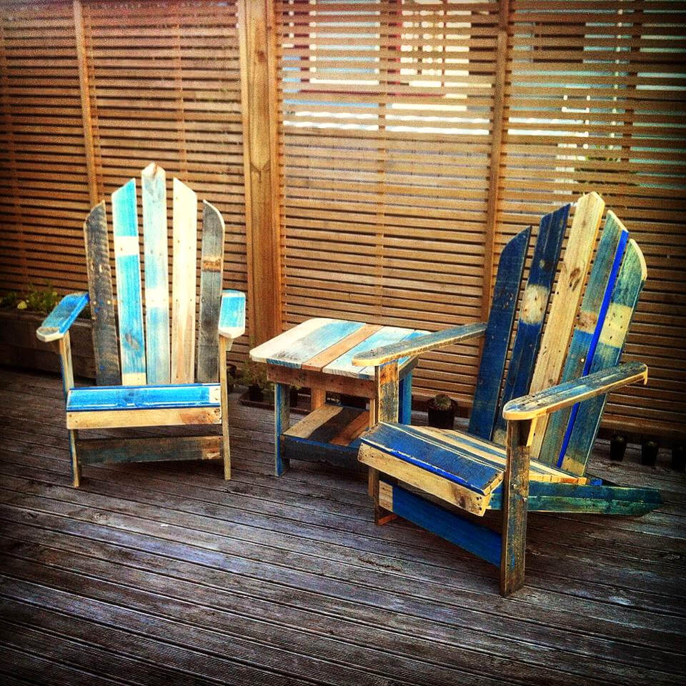 custom painted pallet Adirondack chair set