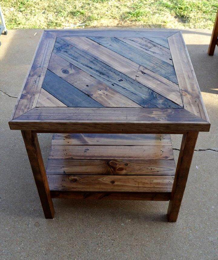 Rustic pallet end table