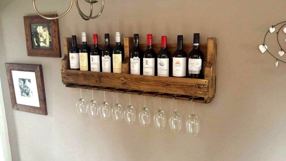 upcycled wooden pallet beverage bottle rack