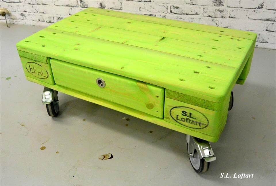 parrot green pallet coffee table with drawer and wheels