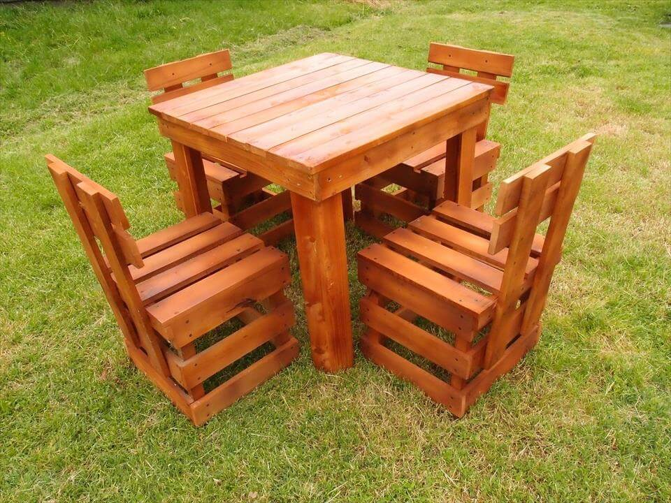 pallet dining table and chairs Patio Furniture Made Out of Pallets Easy DIY Outdoor Pallet Furniture
