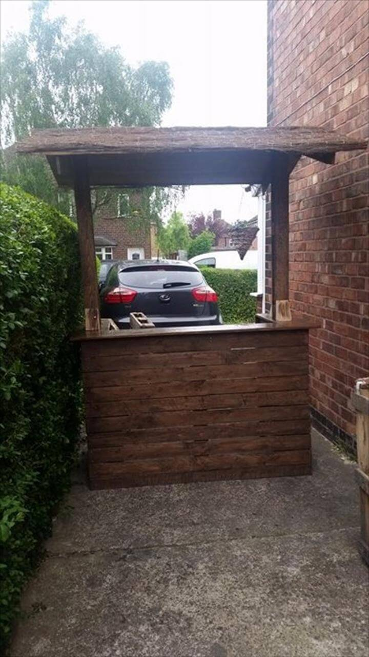 Easy diy pallet wood bar project 100 pallets page 2 for Simple outdoor bar