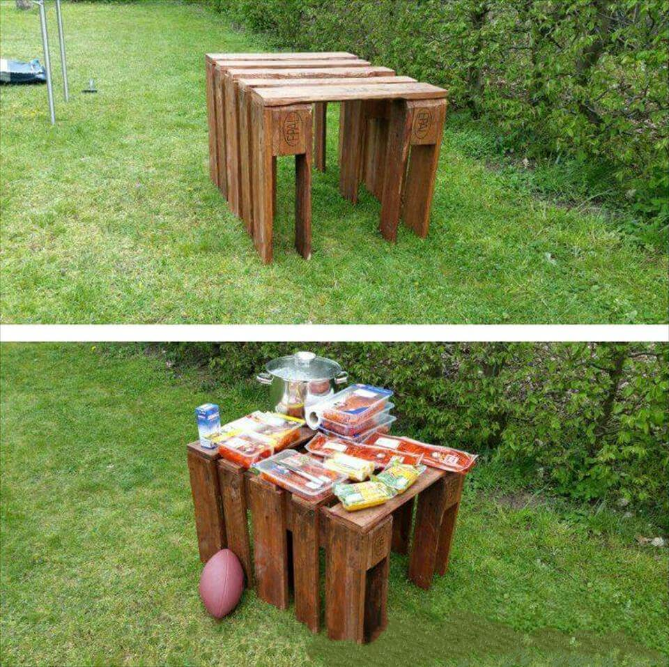 upcycled wooden pallet picnic table