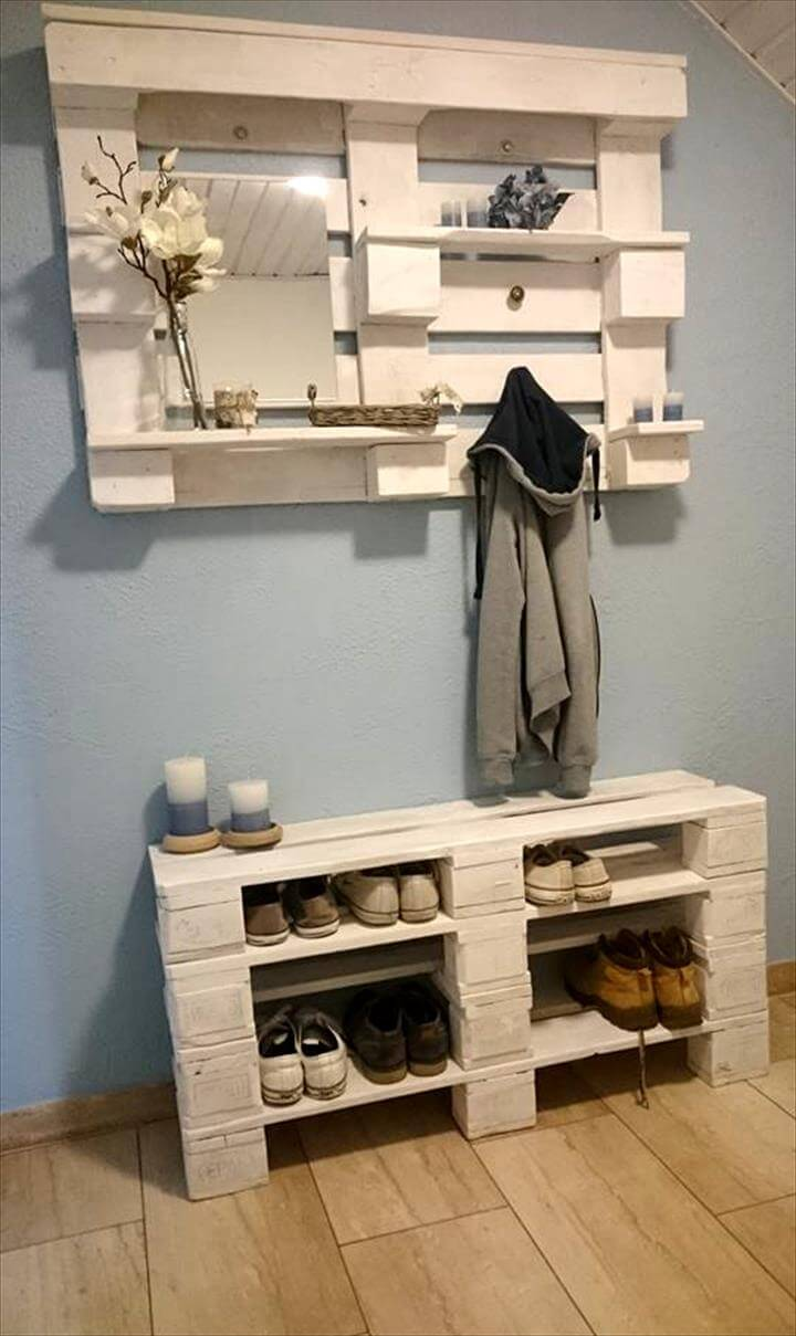 Pallet storage ideas for the entrance for Pallet ideas