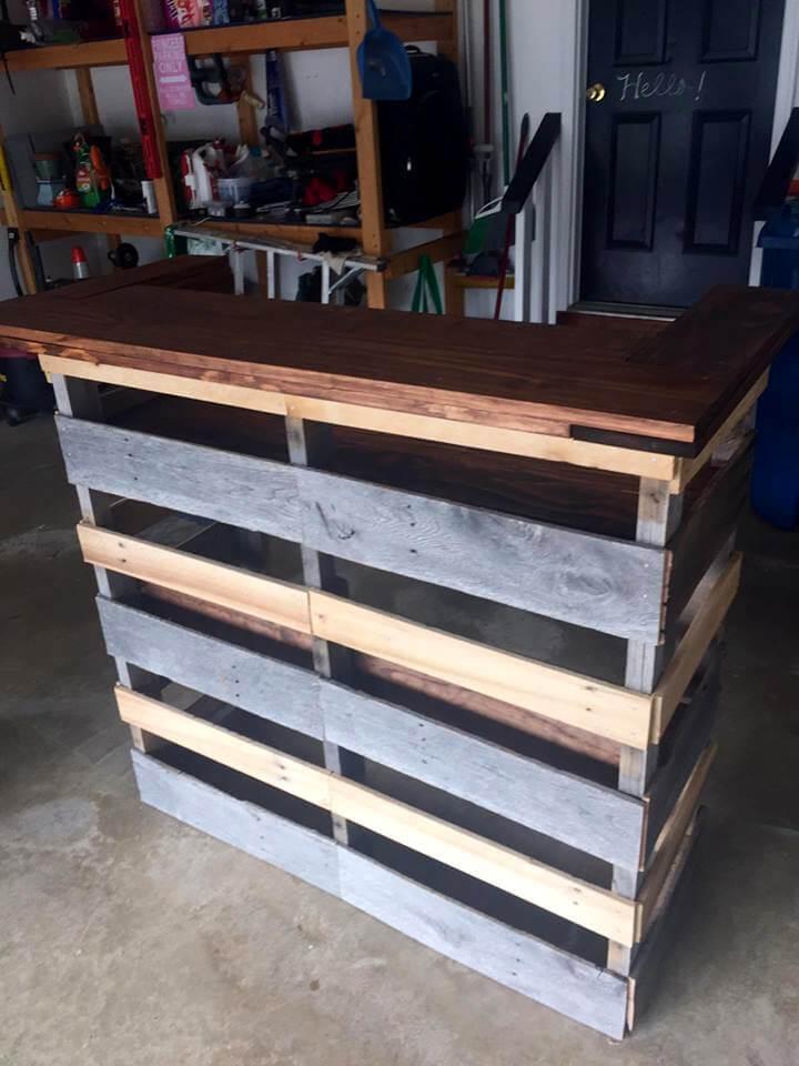 reclaimed wooden pallet bar