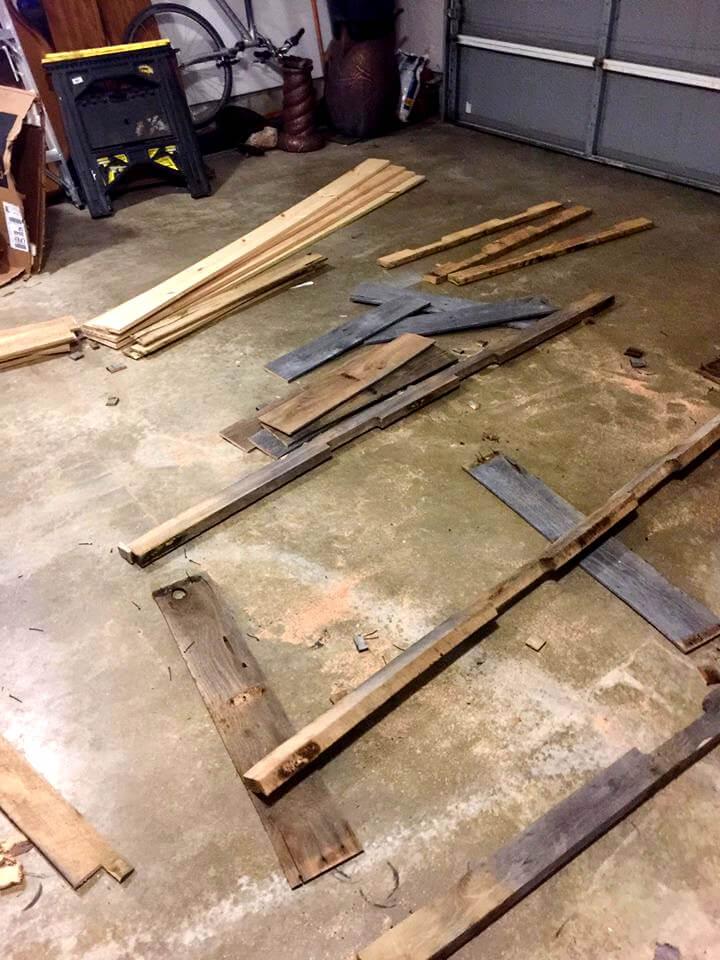 deconstructed wooden pallet slats and stringer boards
