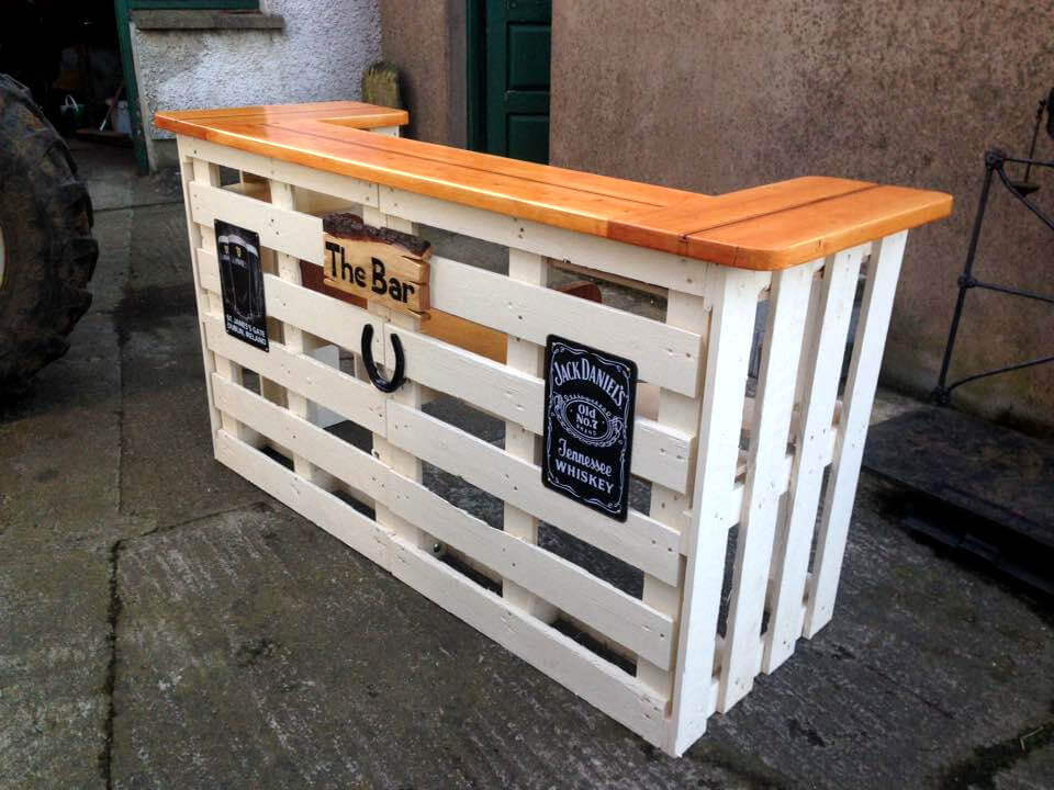 handcrafted pallet bar with sleek wooden top