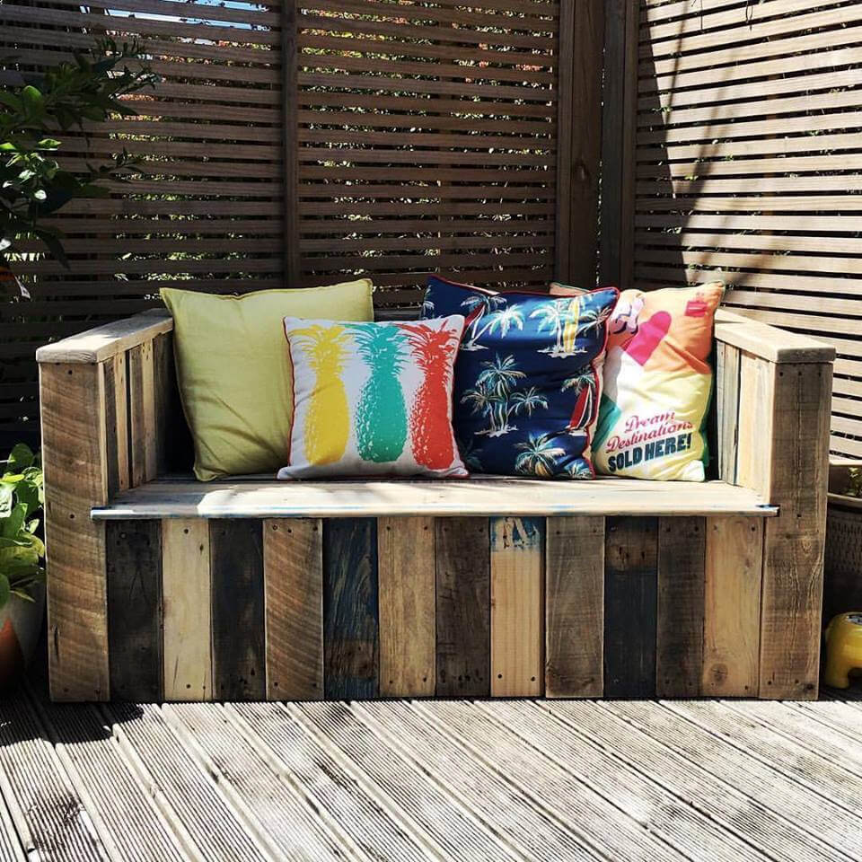 custom wooden pallet outdoor bench