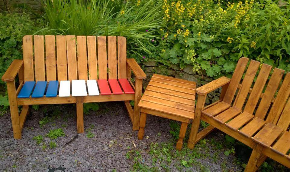 pallet outdoor furniture set and custom chest