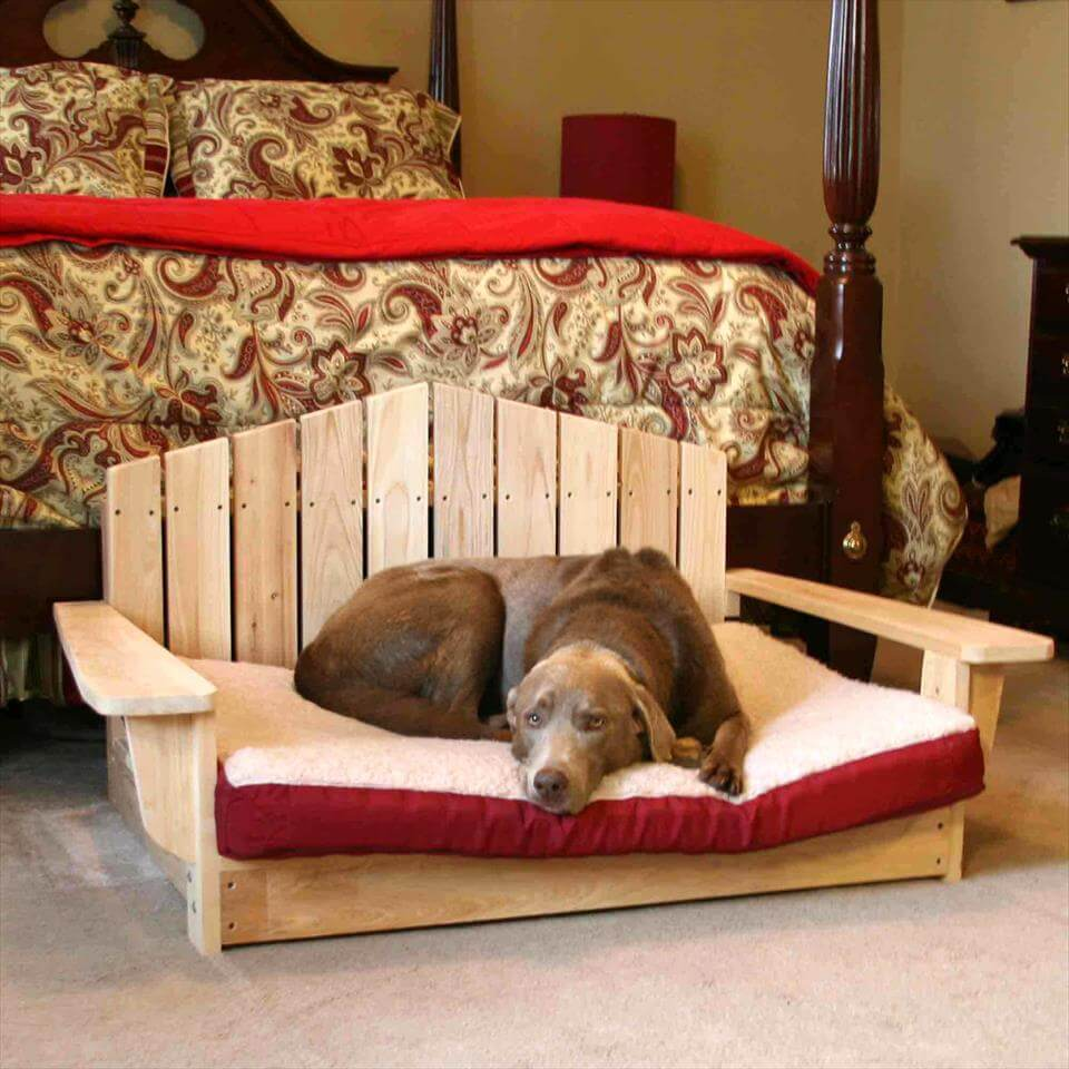 custom wooden pallet Adirondack chair style dog bed