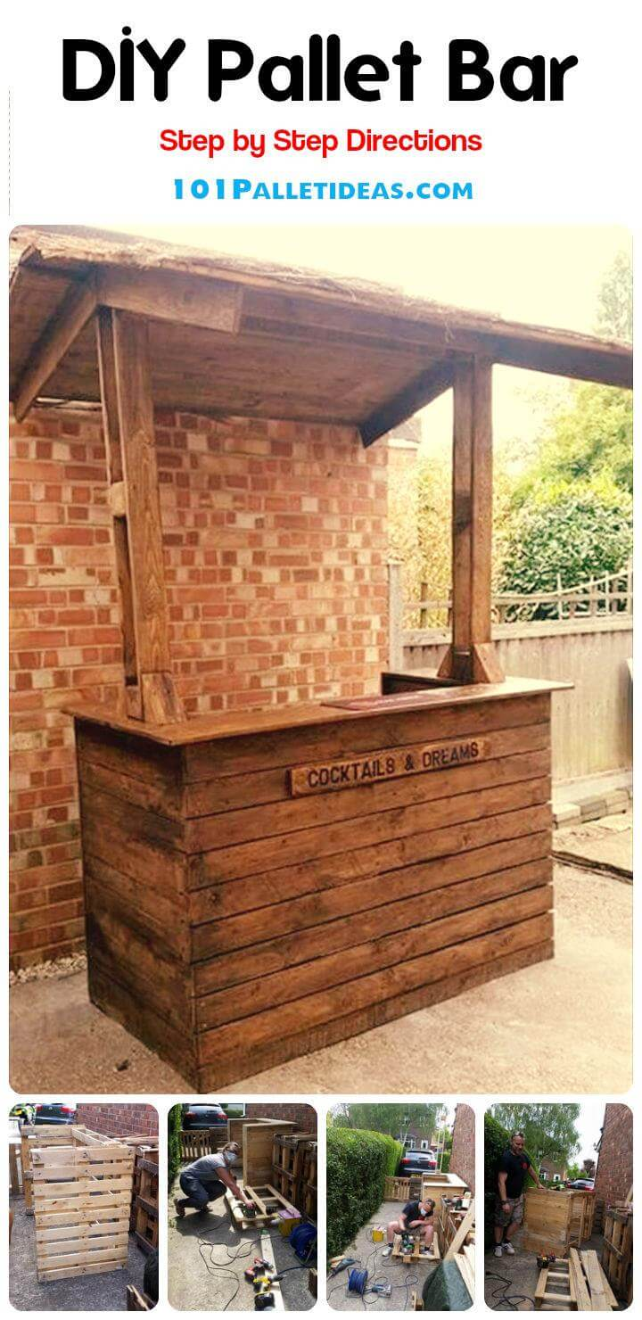 Easy diy wood pallet bar project 100 pallets for Diy projects using wood pallets