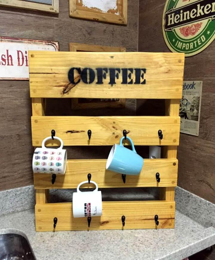 recycled pallet coffee mug rack