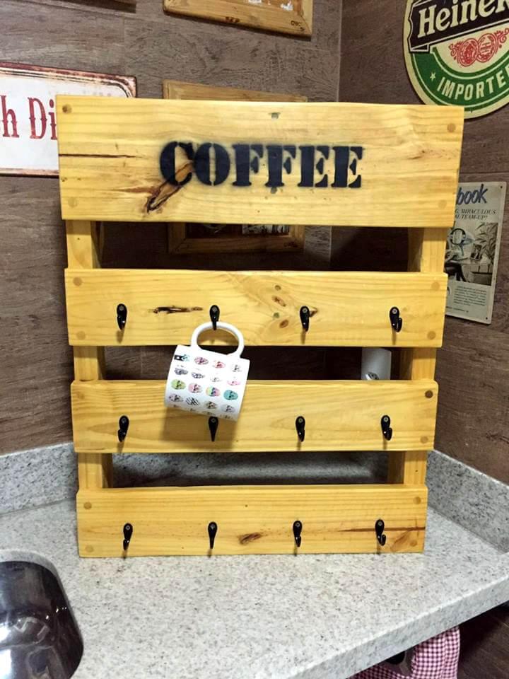 reclaimed pallet coffee mug rack