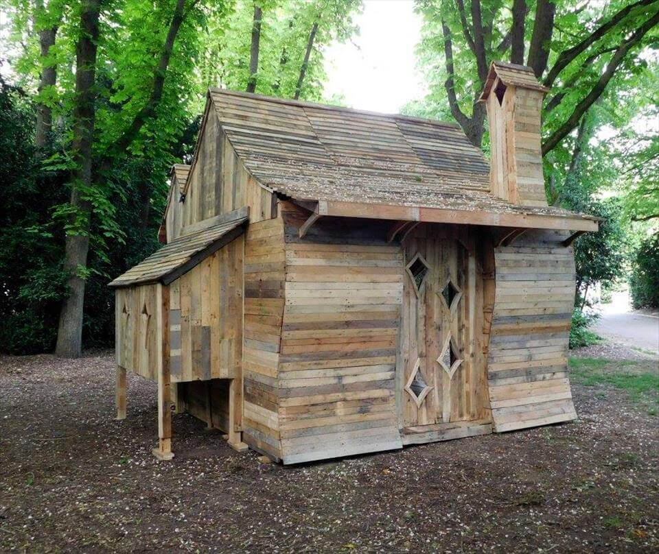 Pallet cabin built for funny cabins exhibition 101 for Wood cabin homes